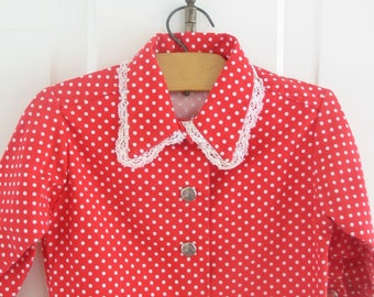 Vintage Girl Shirt Jacket Child Red Polka Dot Heath Tex Healthtex 24 months 2T