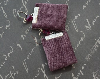 Purple Bohemian Repurposed Fabric Textile Earrings with Crystal Beads