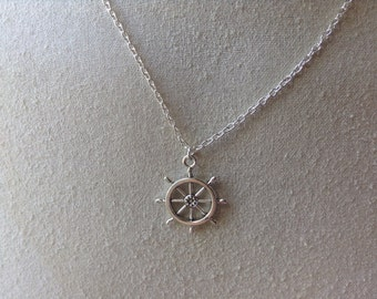 Rudder Helm Charm Silver Necklace