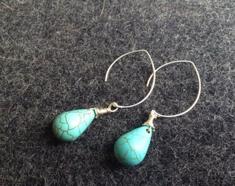 Boho Chic Turqouise Earrings, Turquoise Jewelry, Bohemian jewelry,  December birthstone, Graduation Gift, Birthstone December,