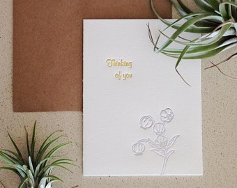 SALE: Thinking of you letterpress note card