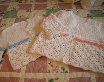 Crochet baby sweater, baby girl sweater, newborn baby sweater, heirloom sweater, photo prop, long sleeved baby sweater, baby sweater