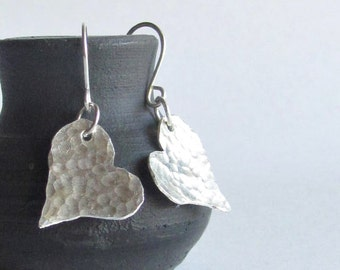 Hammered Heart Earrings - Sterling Silver Heart Earrings - Valentine's Jewelry