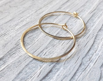 Gold Hoop Earrings Medium Gold Filled Round Hoops Simple Minimal Hoop Earring Eco Friendly jewelry, choose your size