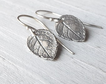 Small Silver Leaf Earrings, Tiny Sterling Leaves Dangle Botanical Earring Nature Jewelry