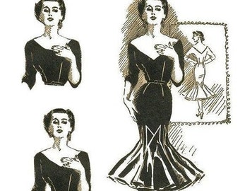 Repro of this Fabulous Vintage Pattern Dress with Flounces 1950s  No 3 on Printable PDF Bust 36
