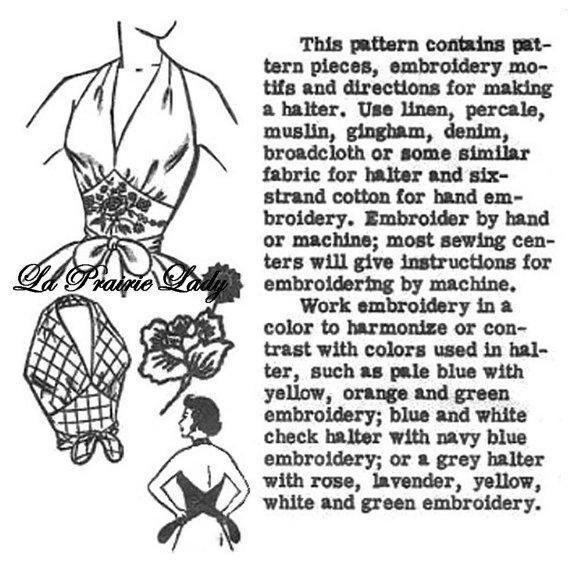 Repro Vintage Pattern Halter Top 50s No 8 Repro on Printable PDF Size M B34-36