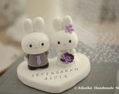 rabbit Wedding Cake Topper -Handmade lovely , cute rabbit and bunny with sweet heart---k949
