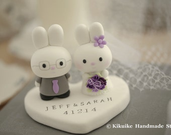 rabbit Wedding Cake Topper -Handmade lovely , cute rabbit and bunny with sweet heart --- k949
