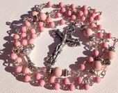 Handmade First Communion Catholic Rosary with Light Pink River Stone Beads, Custom Rosaries, Communion Rosary, Pink Rosary