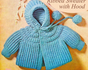 Knitting Pattern For Baby Cardigan With Hood And Ears : Baby crochet jacket Etsy