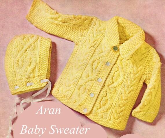 Knitting Patterns For Baby Aran : Baby Knitting Pattern Aran Baby Sweater Knitting Pattern with