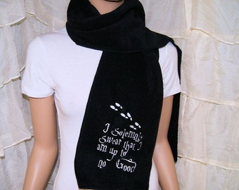 Harry Potter I Solemnly Swear Marauder's Map Wizard Embroidered Black Scarf MTCoffinz