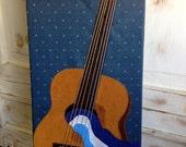 Acoustic Guitar Fabric Art Piece