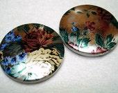 Silver Foil Flower Acrylic Flat Round Beads (Qty 2) -B2606