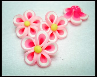 Shades of Pink Handmade Clay Flower Beads (Qty 4) - B2593