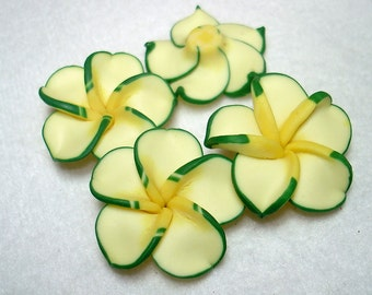 Yellow Green Clay Flower Beads (Qty 4) - B2701