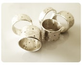 13mm wide Hammered, dimpled and texured with holes silver RING (size 6 to 13)