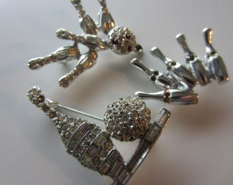 Vintage lot of  silver metal bowling brooches, 1 missing closure and all missing some rhinestones, harvest pieces (mar 16 )