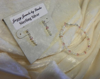 Handcrafted Freshwater Pearls/Swarovski Crystal/Sterling Silver Necklace and Earring Set