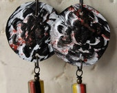 Rustic Rose Pallet Hand Painted Earrings with Chevron Glass Trade Beads