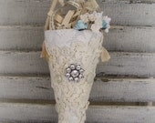 Lace Tussie Mussie Vintage Spring Decor Paper Mache Cone Victorian Lace Decor Vintage Lace Cone Vintage Shabby White  Vintage Mixed Media