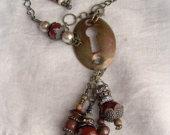Beaded Gypsy Necklace Antique Escutcheon Necklace Antique Keyhole Wire Wrapped Boho Necklace  Vintage Garnet Gypsy Style Rhinestone