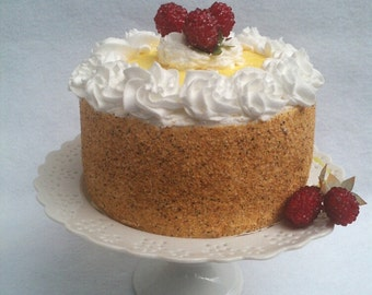 Fake Cake ~ Faux Cake ~ Handcrafted  Artificial Cake Pineapple Raspberry Cheesecake Artificial Cake ~Fake Food