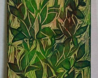 Canemah Studios Decorative Art Original Relief Carving   Leaves 2015