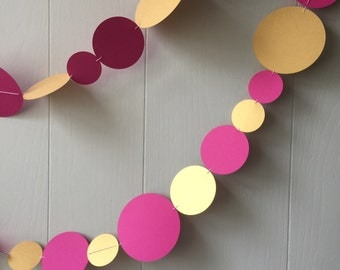 Gold and Pink Circle Garland / Bunting / Pink and Gold Party Decor / Photo Prop / Kid room Decor
