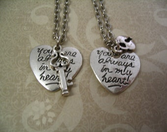 You are Always in My Heart Necklaces Key and Heart Lock Set for Sister Friends or Mother Daughter
