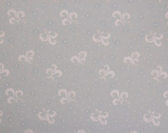 1920s White Feather design on Blue Vintage Antique Wallpaper by the Yard--Made in England