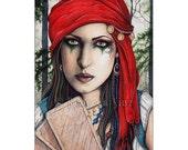 Fortune Teller ACEO print Gypsy Fantasy Art Artist Trading Cards ATC Fantasy Art Portrait Tarot Cards