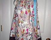 SALE< Girls Peacock Pillowcase Dress, Handmade, Back to School , Birds, Cotton Print, Brown, Newborn, Toddler, Teens