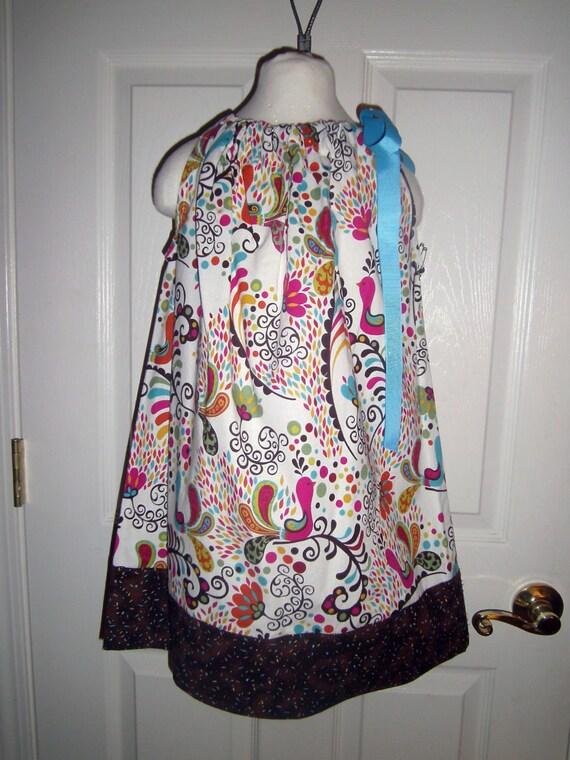 Girls Peacock Print Dress, Handcrafted, Pillowcase dress, Back to School Dress, Thanksgiving Dress, Baby Dress, Toddler Dress, Tween Dress