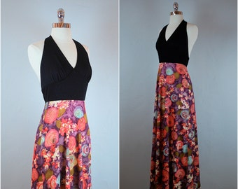 60's floral halter dress / floral maxi dress