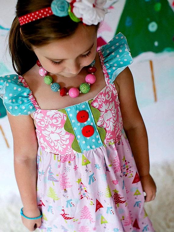 Girls Christmas Dress - Holiday dress - Christmas Tree Dress