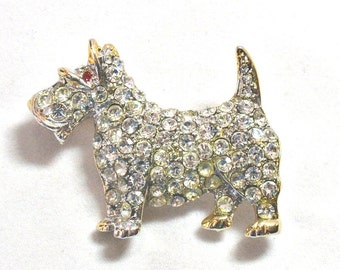 Vintage Scottie Dog Pin Rhinestone Encrusted with Red Eyes Retro Puppy Brooch