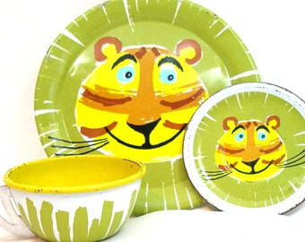 Smiling Tiger Tin Toy Tea Setting, 3 piece set.