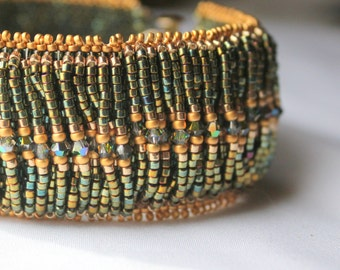 Hand Beaded Bracelet cuff style, Green and Gold with Swarovski Crystals and 14kt gold filled clasp