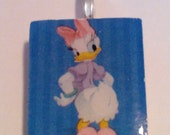Daisy Duck Handmade Scrabble Tile Wearable Pendant