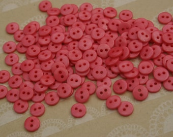 "Tiny Pink Buttons - 3/8"" Sewing Bulk Little Button - 55 Buttons - Strawberry"