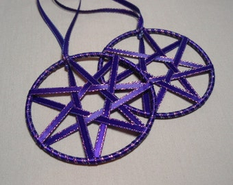 Purple Faerie Ribbon Star - Ornament Yule Christmas Set of Two