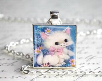 Vintage 1970s Kitty Cat Kitten Pendant Necklace