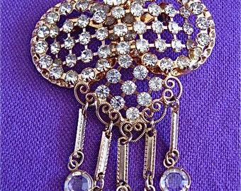 Unique Vintage Diamond Crystal Pin