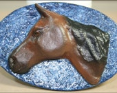 Medium Bay Horse Head on Blue Oval Background (OOAK Magnet)