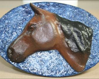 Medium Bay Horse Head on Blue Oval Background (OOAK Magnet)