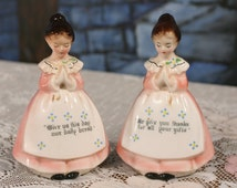 Enesco Prayer Lady Salt and Pepper Shakers Praying Give Thanks Cute Japan Kitsch Wedding Cake Topper Vintage