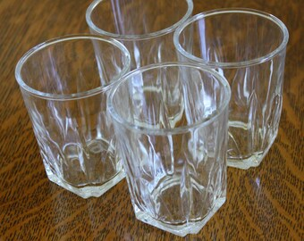 Vintage Juice Glasses - Set of 7 - Clear Pressed Glass - Small Drink Cups - Retro Kitchen Glassware - Mid Century Breakfast Glasses