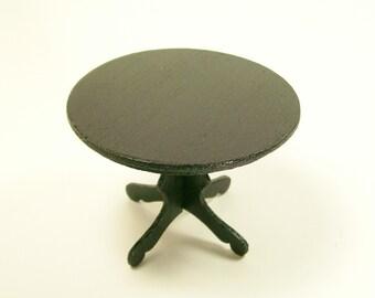 Black Round Table Wood Furniture 1:12 Dollhouse Miniature Scale Artisan